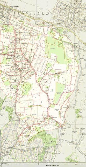 Hartley Kent: Tithe Map 1844 superimposed on 1955 and 2019 maps