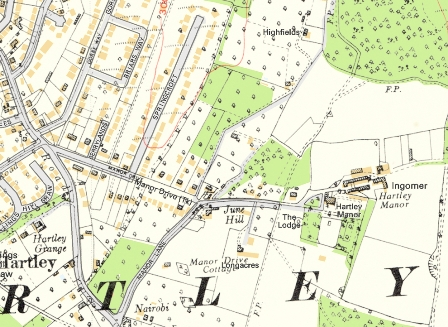 Hartley Kent: Manor Drive 1936 map superimposed on modern map