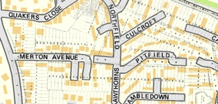Hartley Kent: Payne and Trapps estate plan overlaid on modern map